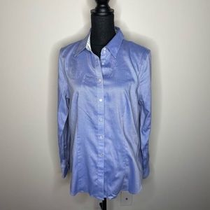 Talbots Blue Button Front Non Wrinkle Shirt Size 6